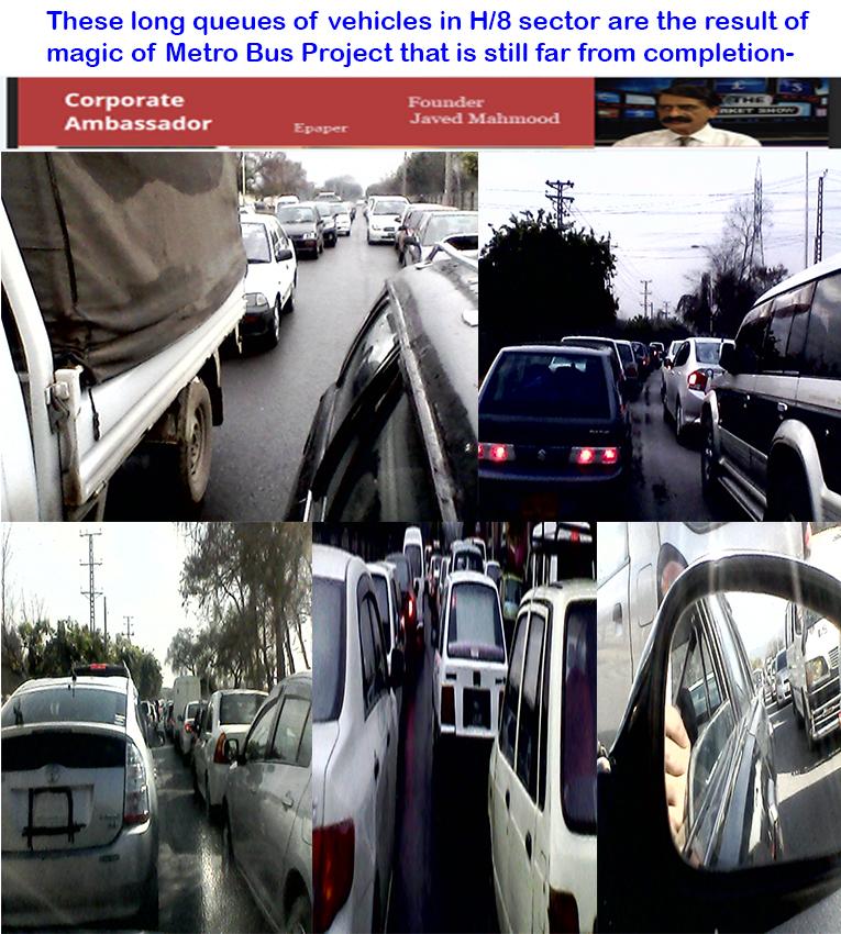Metro Bus Islamabad: Long Queues Of Vehicles _ Metrobus Magic