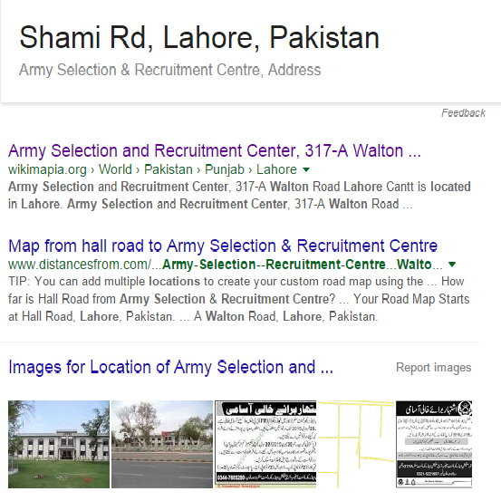 Shami Road to Walton Army Selection Center
