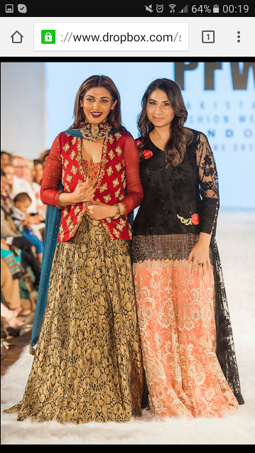 Madiha with a model