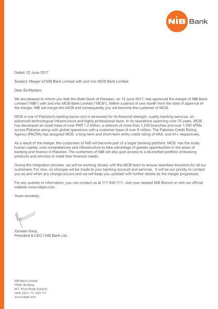NIB Letter